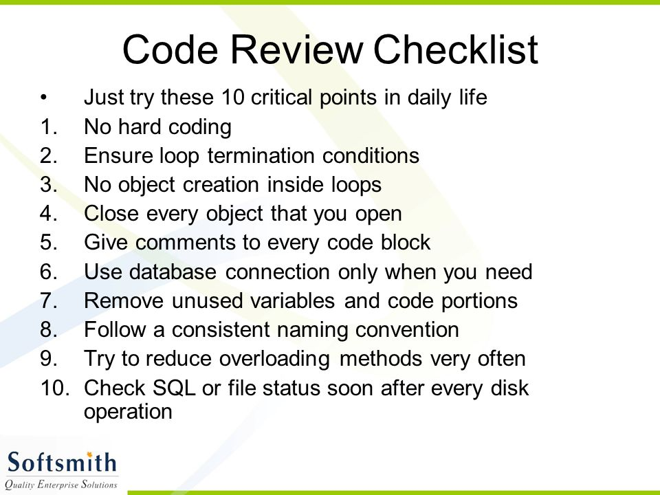 Code Review Checklist Just try these 10 critical points in daily life