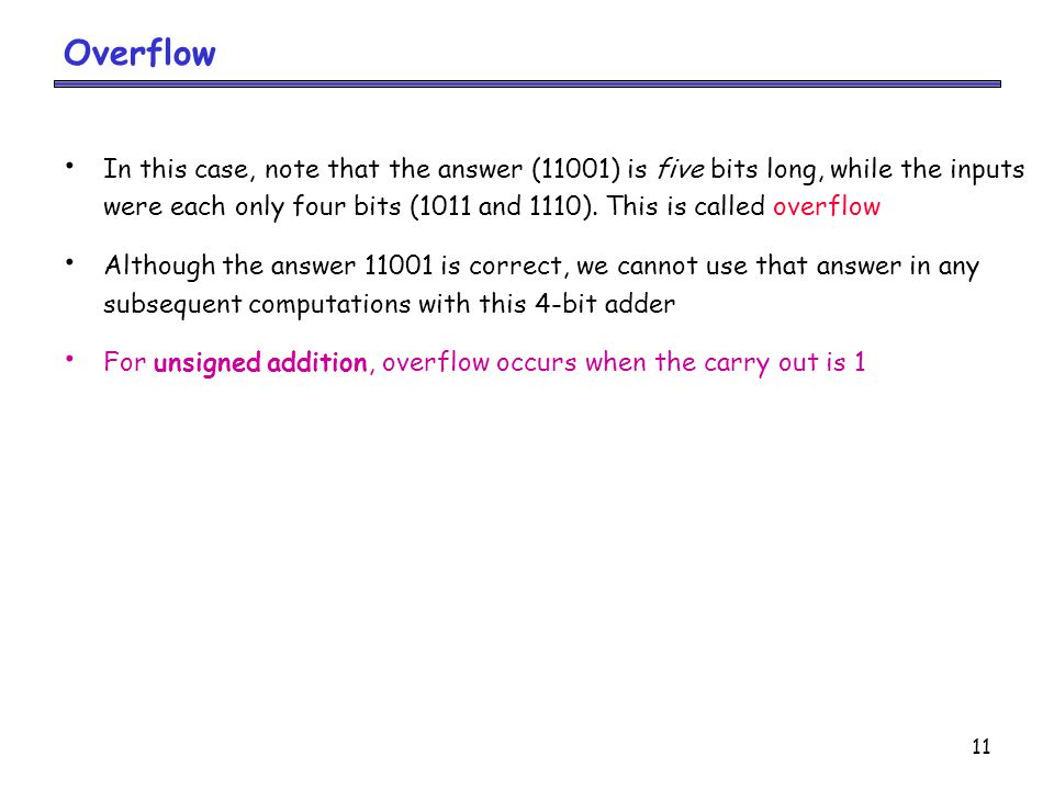Overflow In this case, note that the answer (11001) is five bits long, while the inputs.