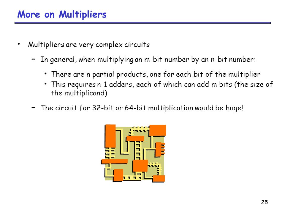More on Multipliers Multipliers are very complex circuits