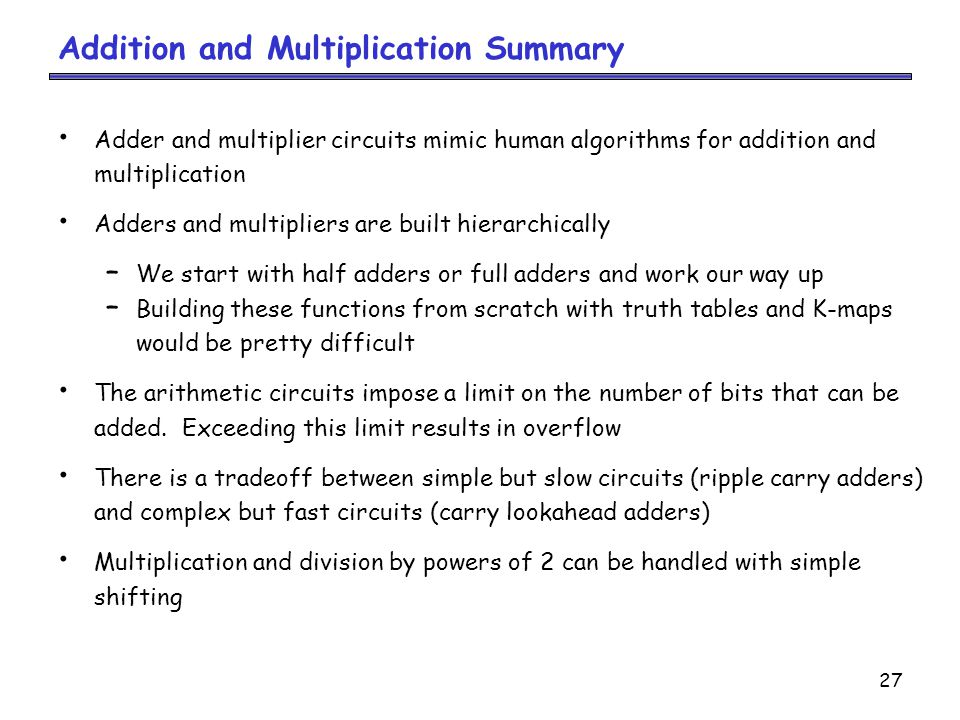 Addition and Multiplication Summary