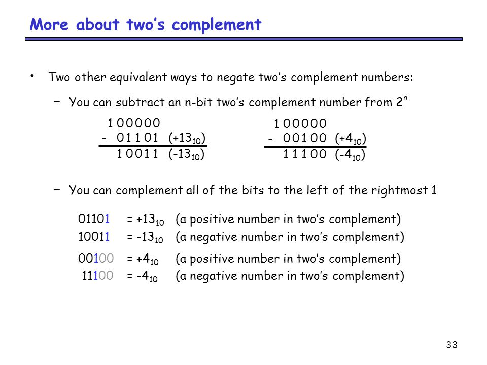 More about two's complement