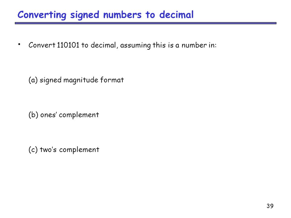 Converting signed numbers to decimal