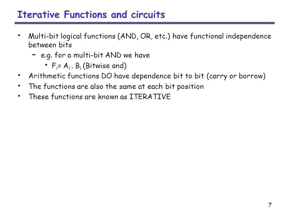 Iterative Functions and circuits