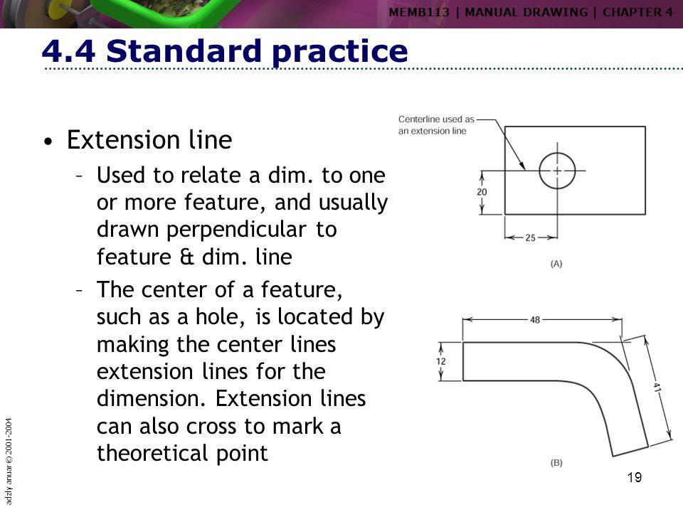 4.4 Standard practice Extension line