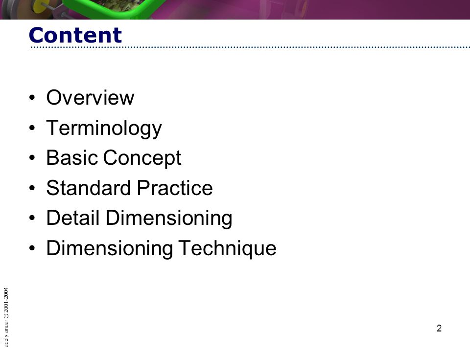 Content Overview. Terminology. Basic Concept. Standard Practice.