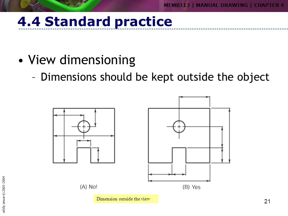 4.4 Standard practice View dimensioning