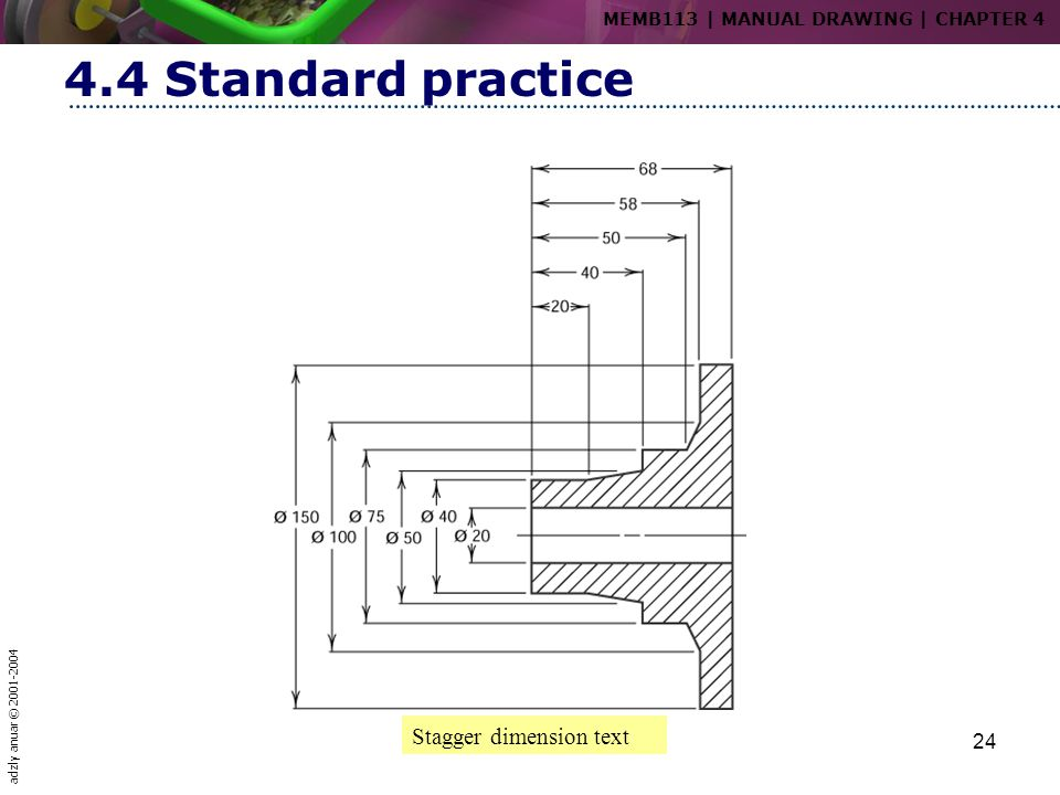 4.4 Standard practice Stagger dimension text