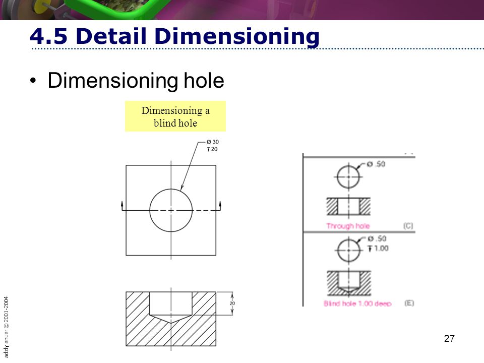 Dimensioning a blind hole