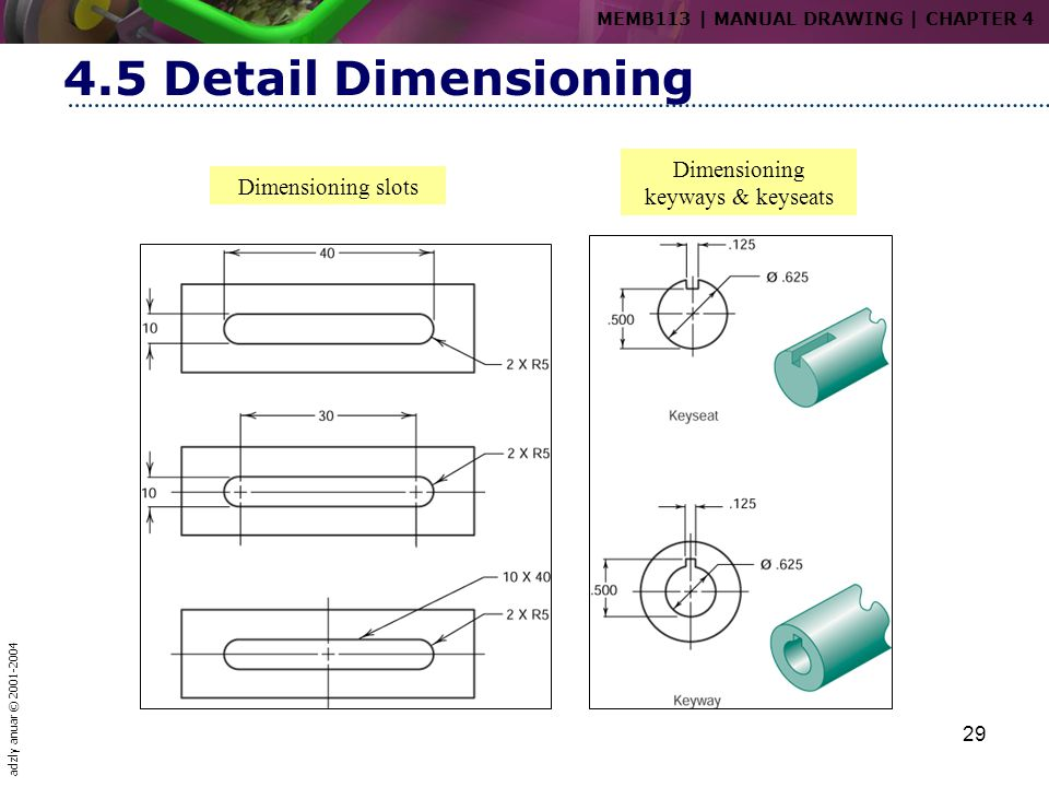 Dimensioning keyways & keyseats