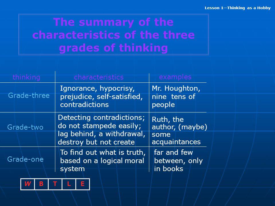 The summary of the characteristics of the three grades of thinking