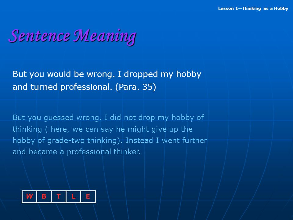Sentence Meaning But you would be wrong. I dropped my hobby and turned professional. (Para. 35)