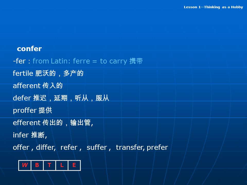confer -fer:from Latin: ferre = to carry 携带. fertile 肥沃的,多产的. afferent 传入的. defer 推迟,延期,听从,服从. proffer 提供.