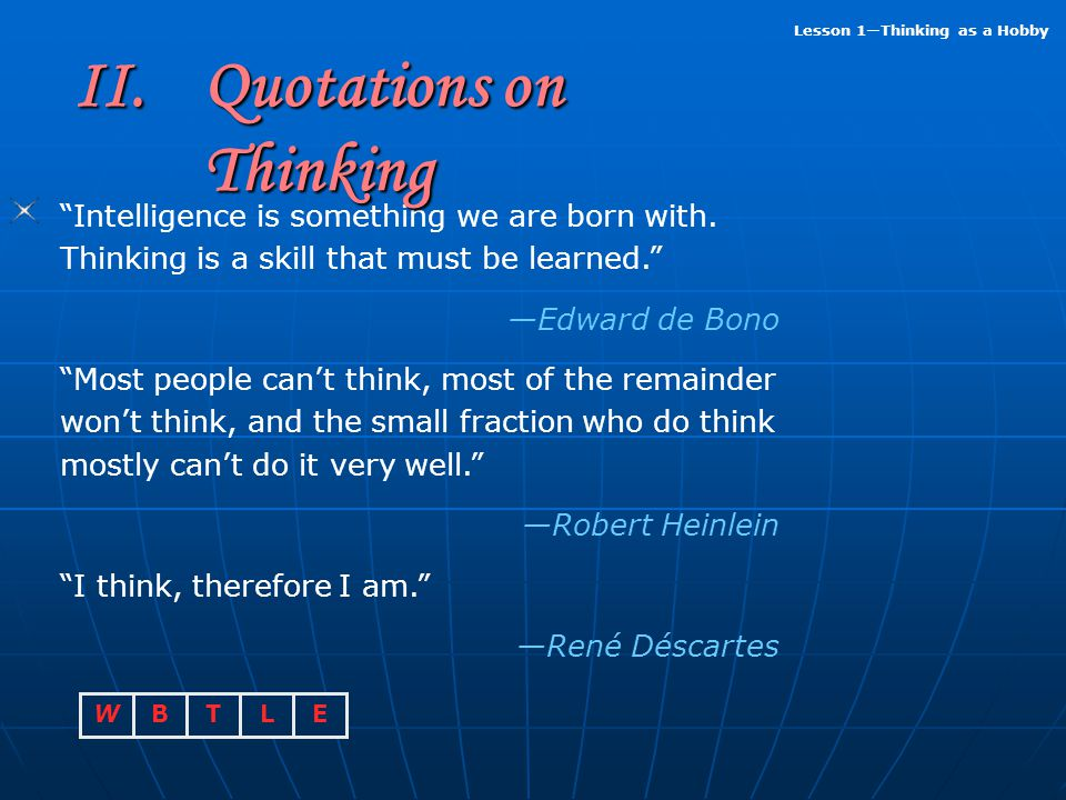 II. Quotations on Thinking