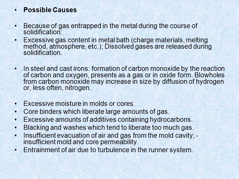Possible Causes Because of gas entrapped in the metal during the course of solidification: