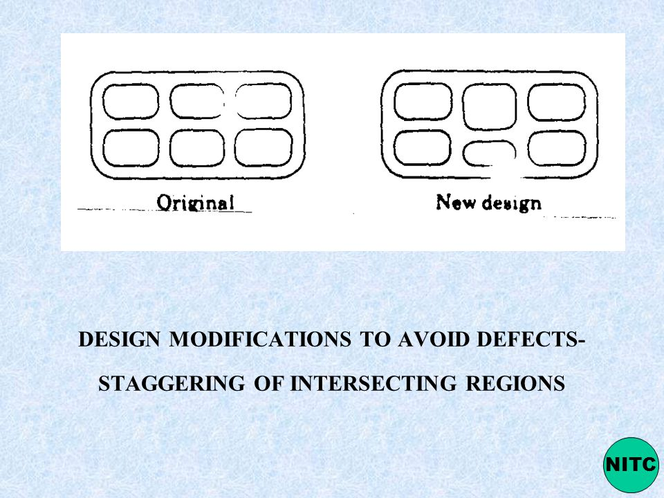 DESIGN MODIFICATIONS TO AVOID DEFECTS- STAGGERING OF INTERSECTING REGIONS