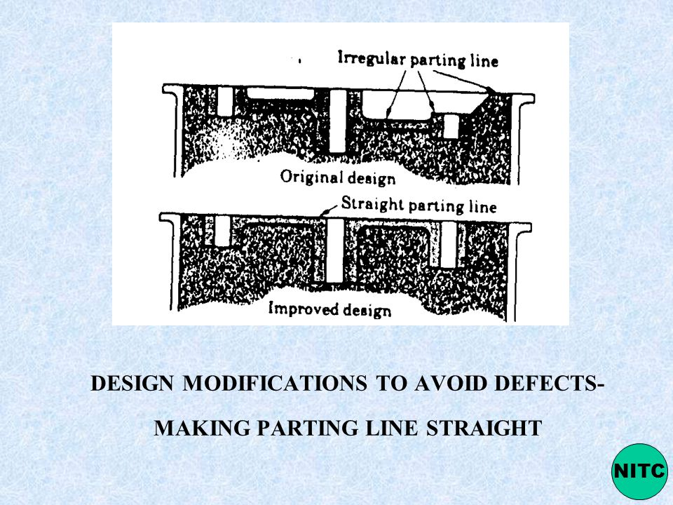 DESIGN MODIFICATIONS TO AVOID DEFECTS- MAKING PARTING LINE STRAIGHT