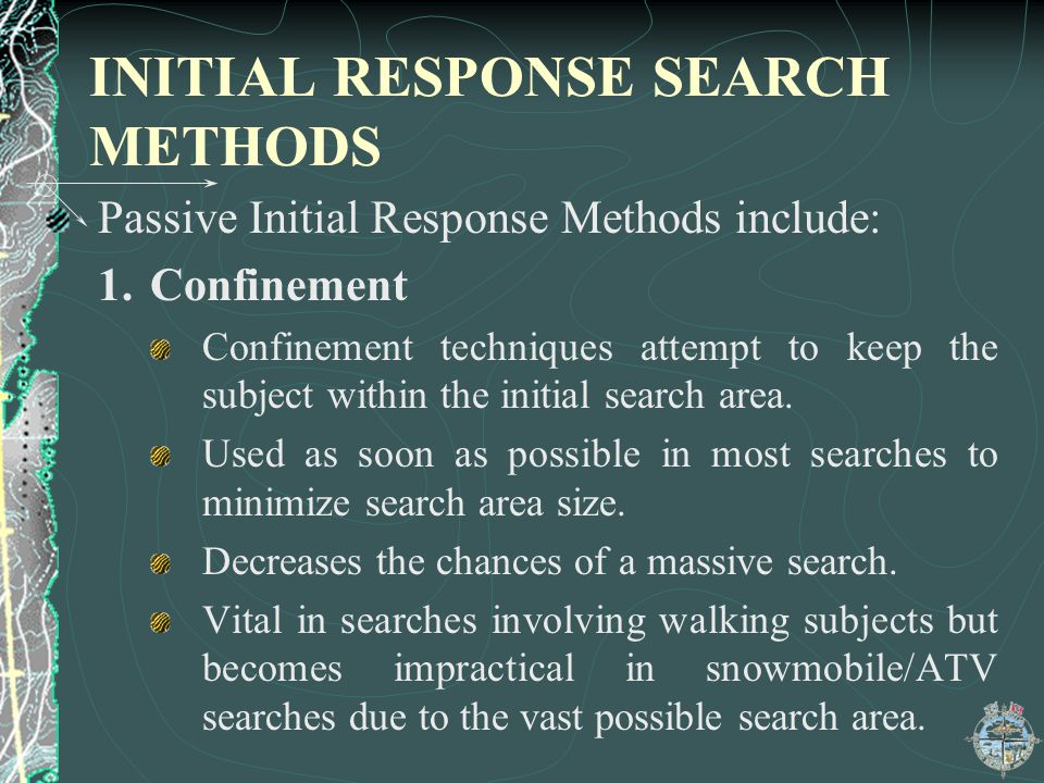INITIAL RESPONSE SEARCH METHODS