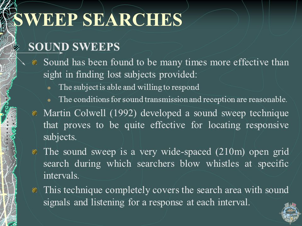 SWEEP SEARCHES SOUND SWEEPS
