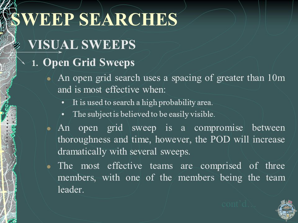 SWEEP SEARCHES VISUAL SWEEPS Open Grid Sweeps