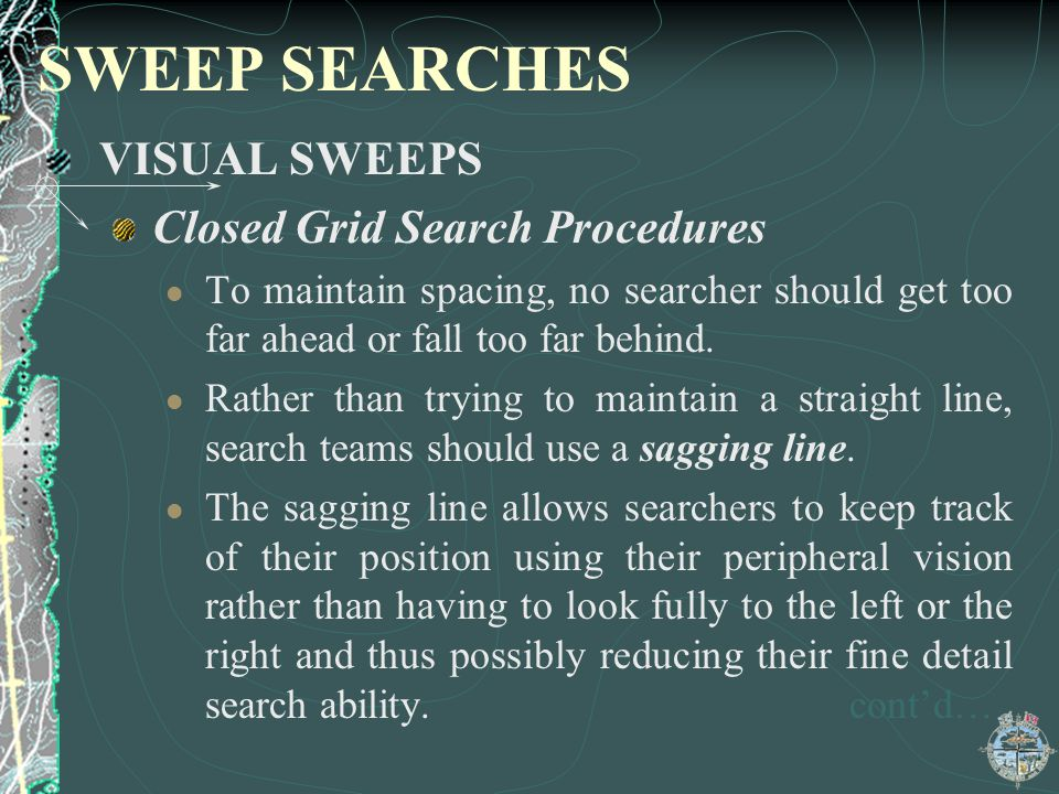 SWEEP SEARCHES VISUAL SWEEPS Closed Grid Search Procedures
