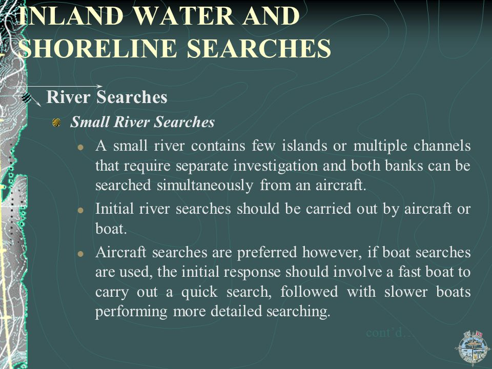 INLAND WATER AND SHORELINE SEARCHES