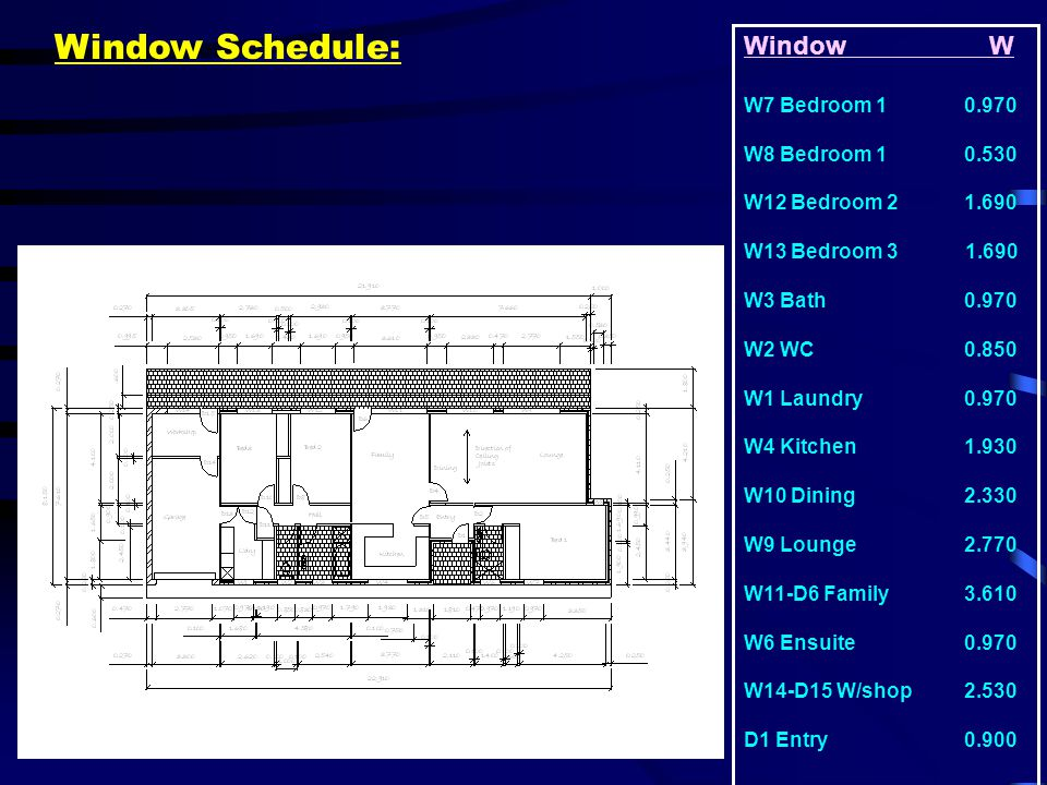 Window Schedule: Window W W7 Bedroom 1 0.970 W8 Bedroom 1 0.530