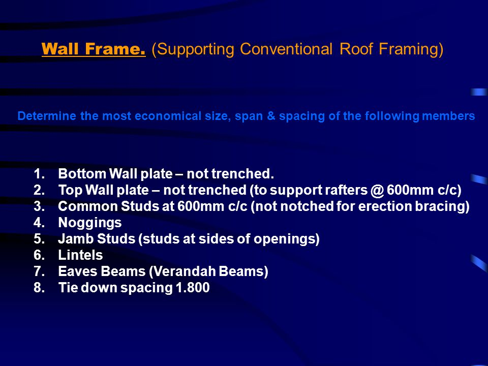 Wall Frame. (Supporting Conventional Roof Framing)