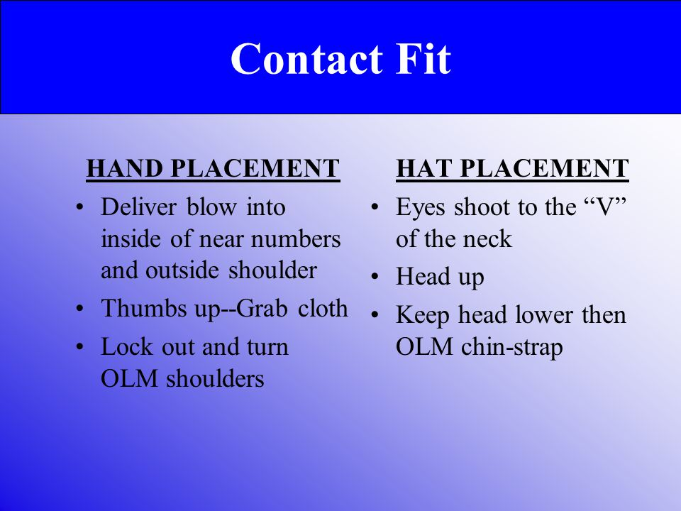 Contact Fit HAND PLACEMENT