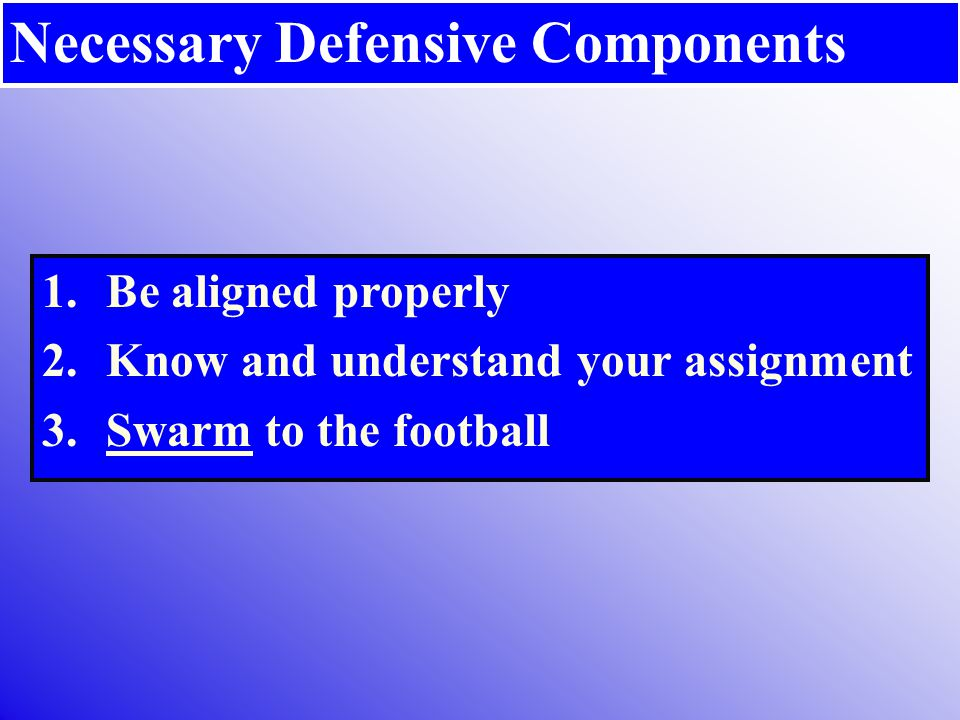 Necessary Defensive Components