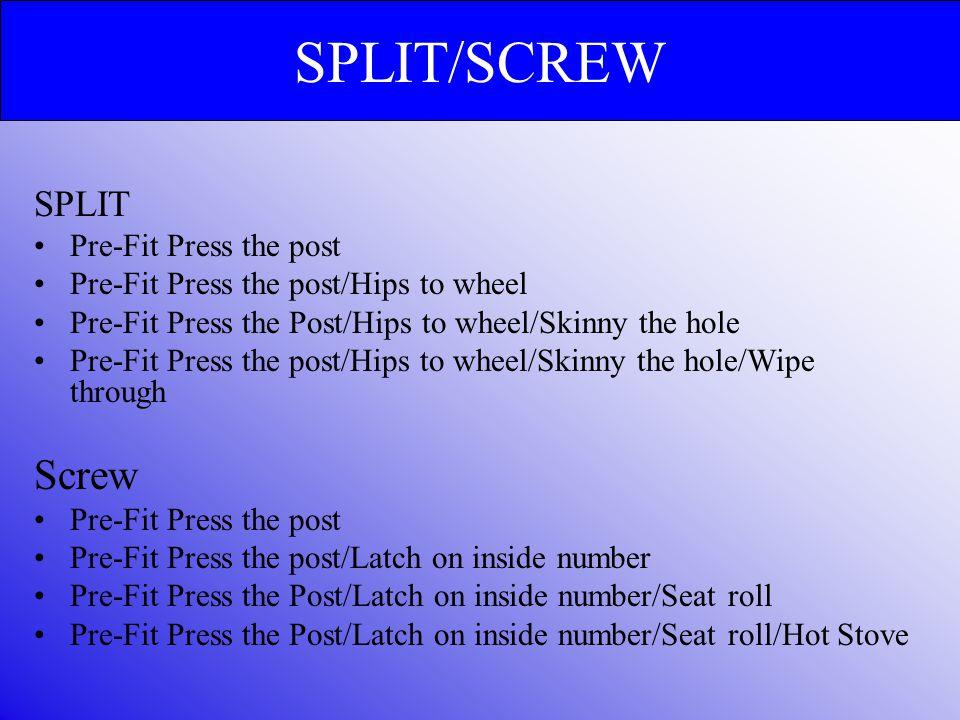 SPLIT/SCREW Screw SPLIT Pre-Fit Press the post