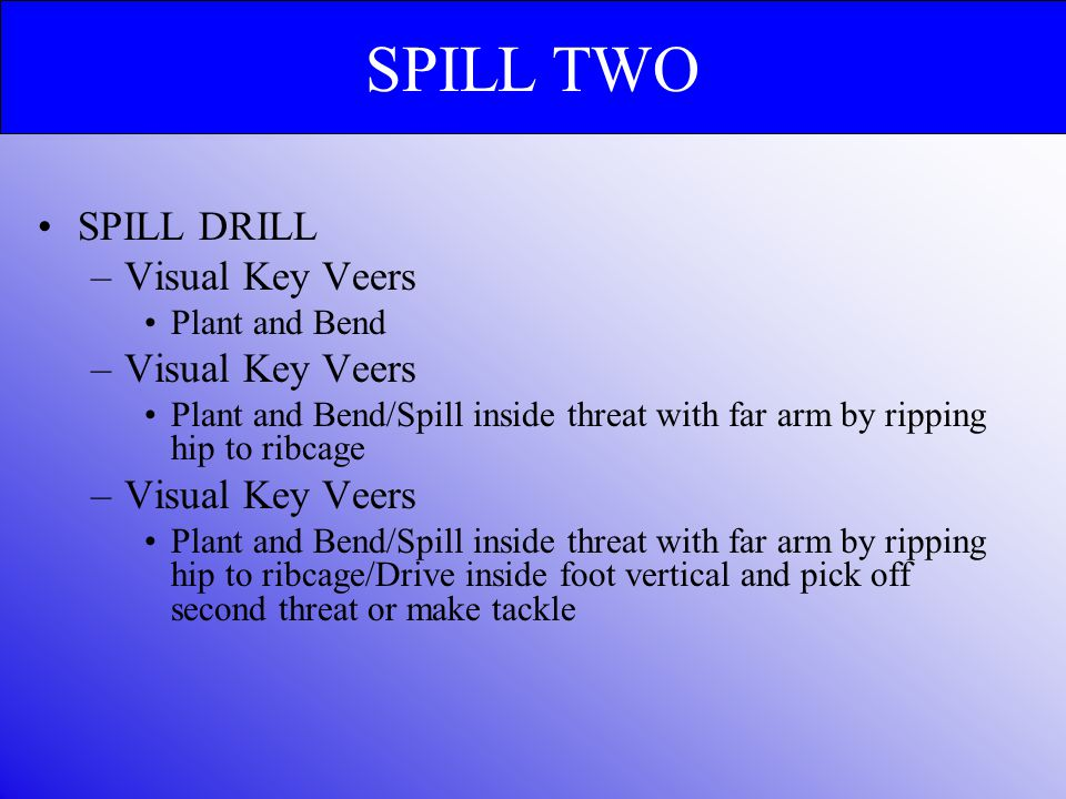 SPILL TWO SPILL DRILL Visual Key Veers Plant and Bend