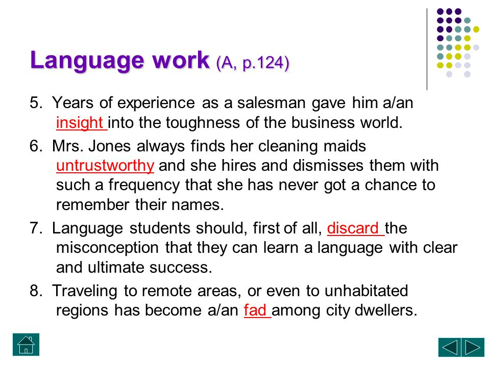 Language work (A, p.124) 5. Years of experience as a salesman gave him a/an insight into the toughness of the business world.