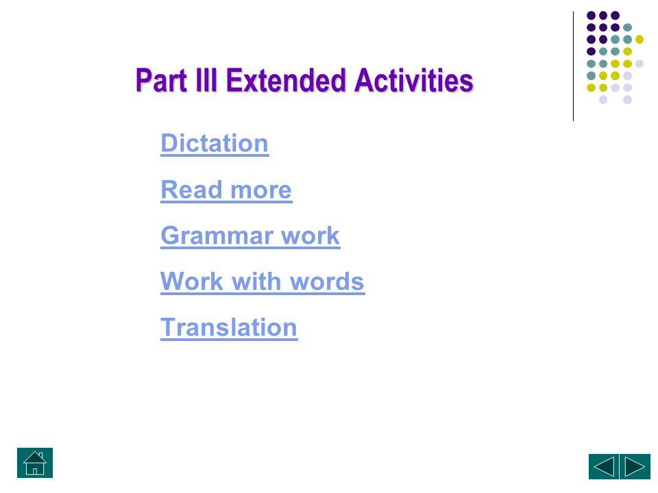 Part III Extended Activities