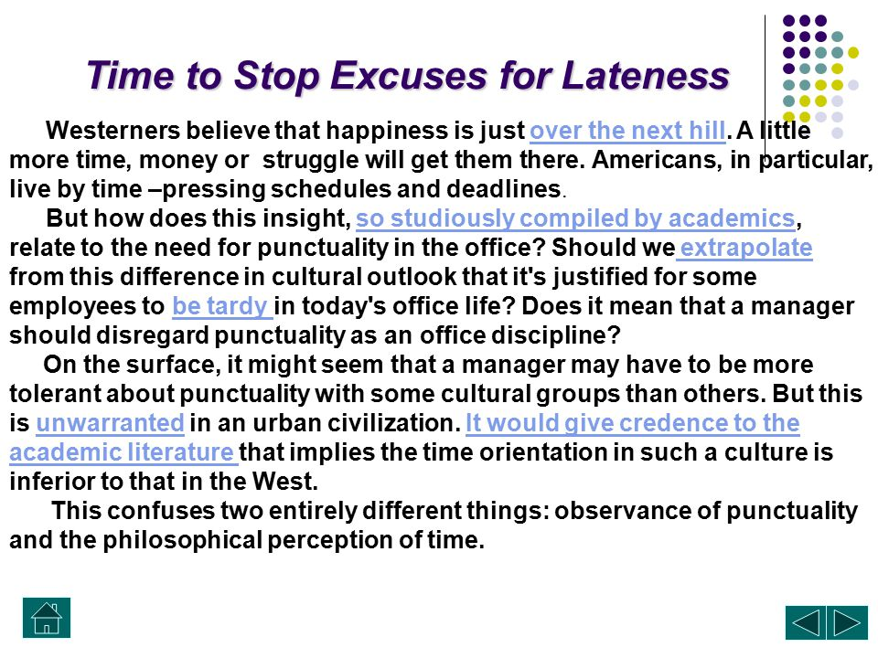 Time to Stop Excuses for Lateness