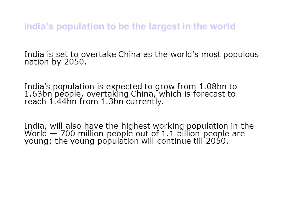 India's population to be the largest in the world