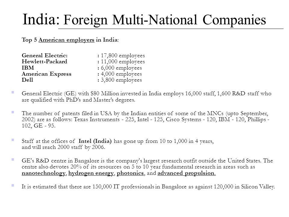 India: Foreign Multi-National Companies