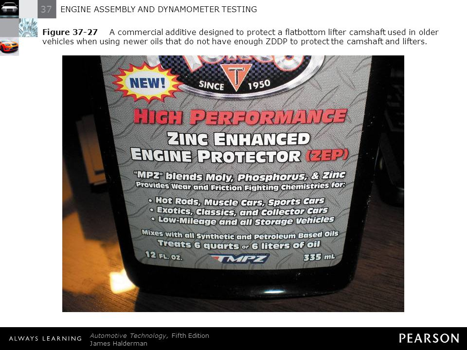Figure 37-27 A commercial additive designed to protect a flatbottom lifter camshaft used in older vehicles when using newer oils that do not have enough ZDDP to protect the camshaft and lifters.