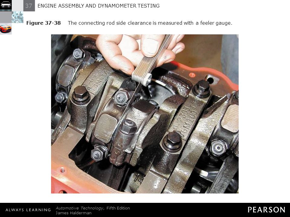 Figure 37-38 The connecting rod side clearance is measured with a feeler gauge.