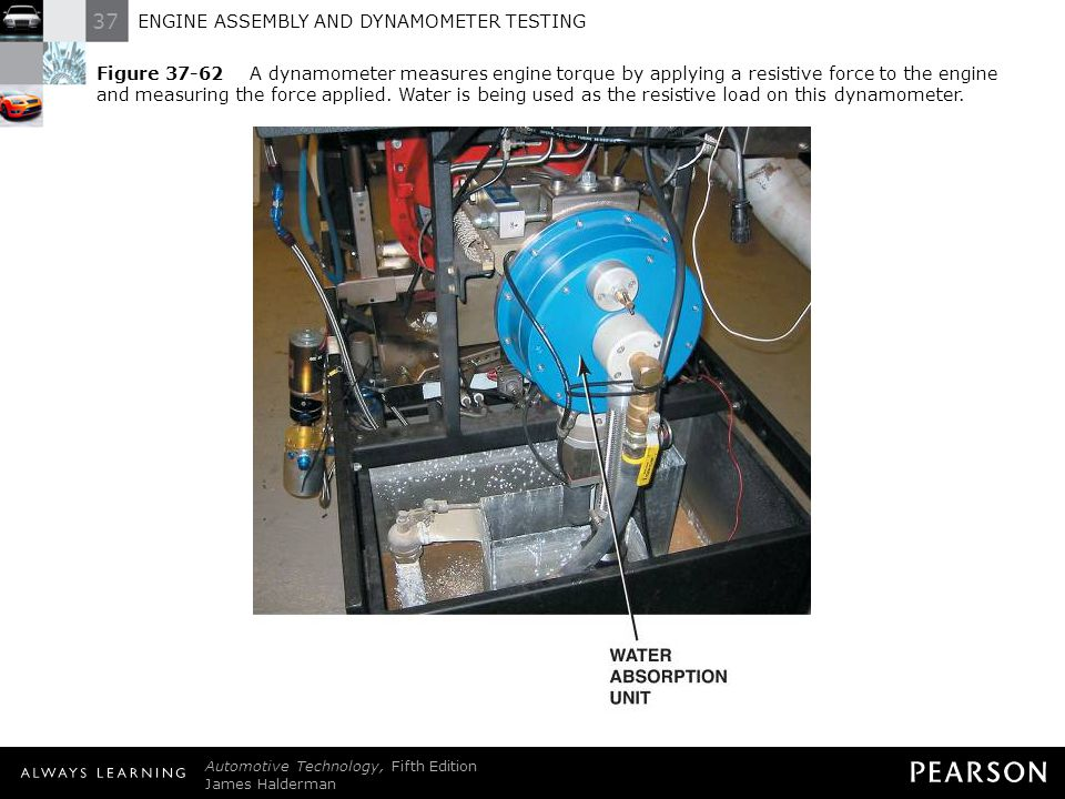 Figure 37-62 A dynamometer measures engine torque by applying a resistive force to the engine and measuring the force applied. Water is being used as the resistive load on this dynamometer.