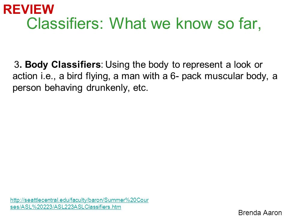 Classifiers: What we know so far,