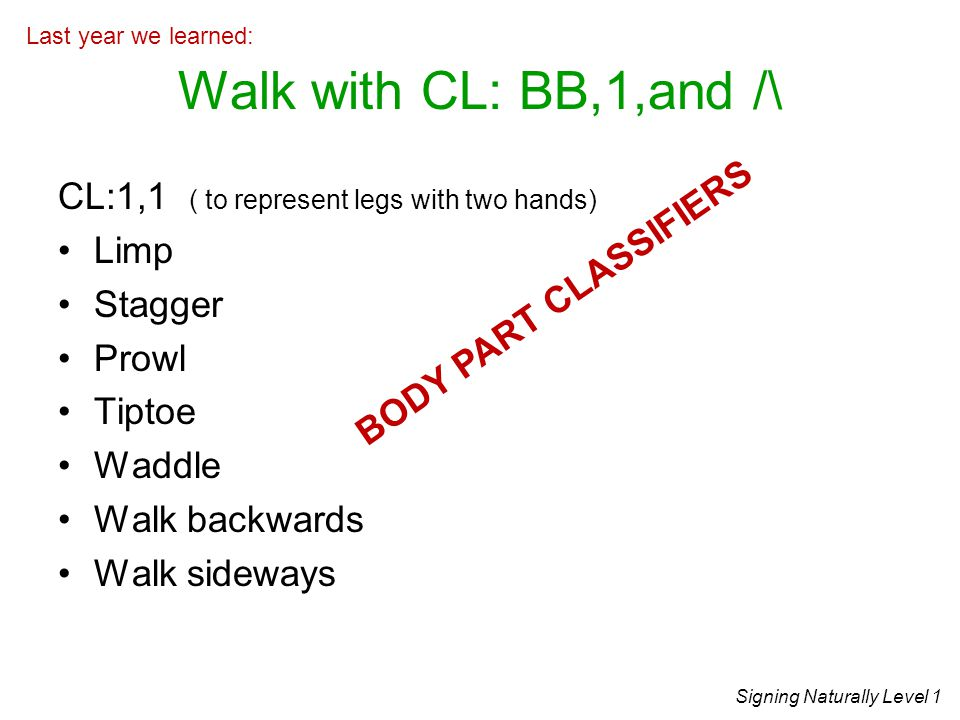 Walk with CL: BB,1,and /\ CL:1,1 ( to represent legs with two hands)