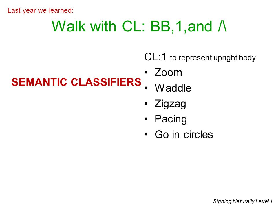 Walk with CL: BB,1,and /\ CL:1 to represent upright body Zoom Waddle