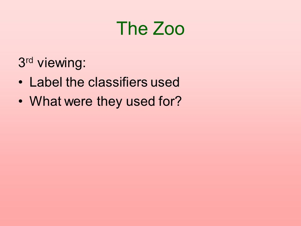 The Zoo 3rd viewing: Label the classifiers used