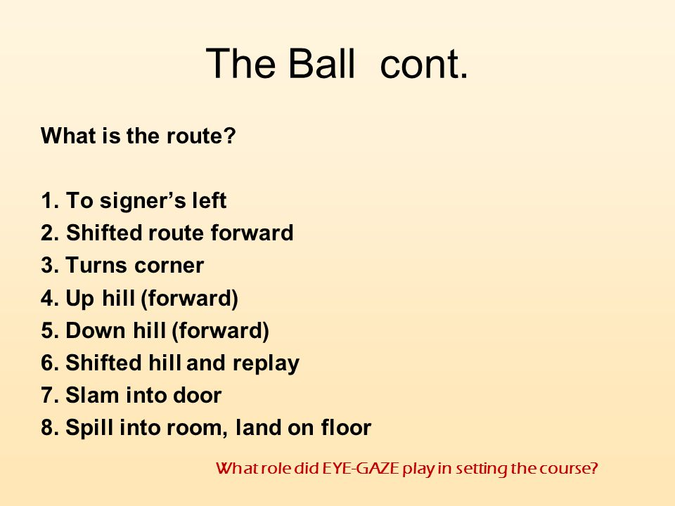 The Ball cont. What is the route To signer's left