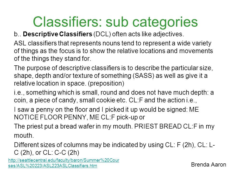 Classifiers: sub categories