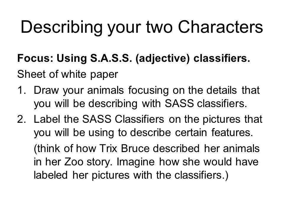 Describing your two Characters