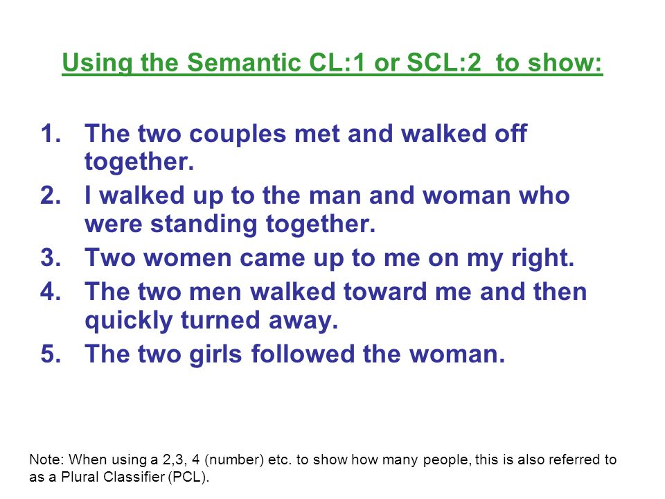 Using the Semantic CL:1 or SCL:2 to show:
