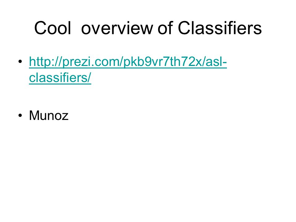 Cool overview of Classifiers