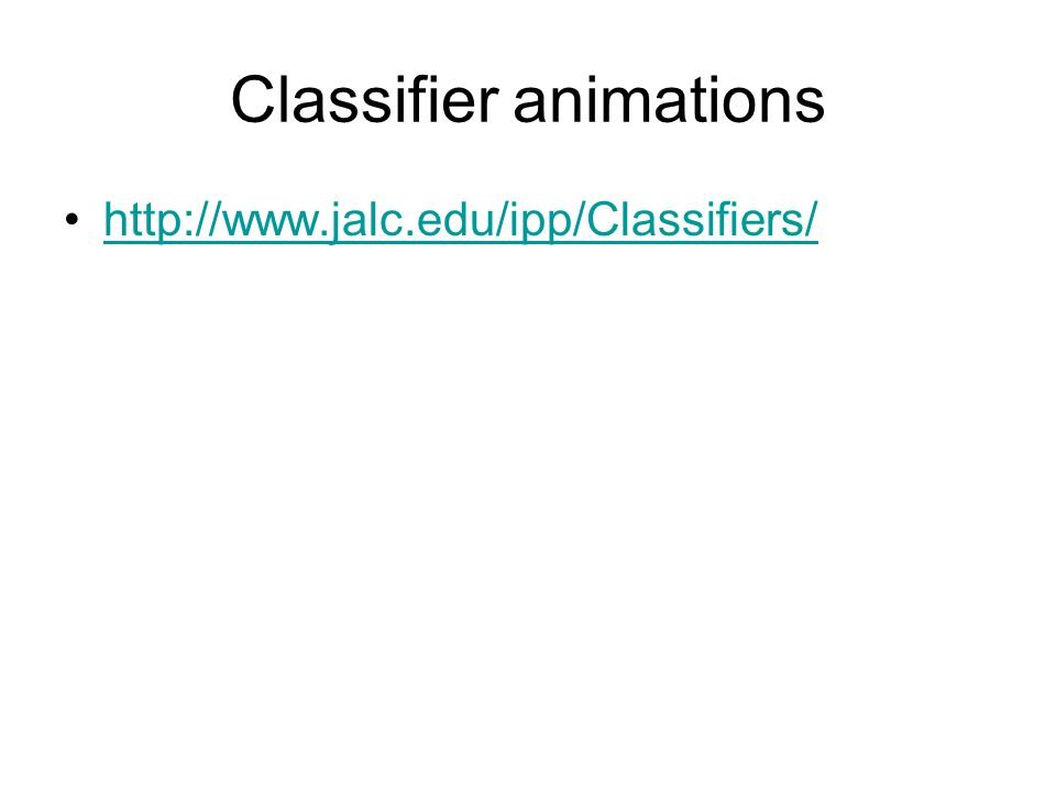 Classifier animations