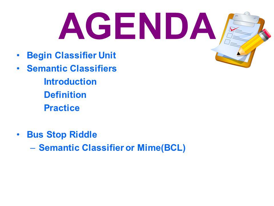 AGENDA Begin Classifier Unit Semantic Classifiers Introduction
